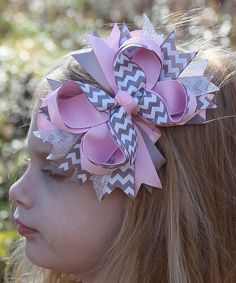 Look what I found on #zulily! Gray & Pink Chevron Bow Clip by Under The Hooded Towels #zulilyfinds