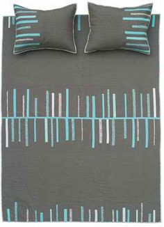 Fringe BenefitsQuilt in Cocoa & Turquoise   Denyse Schmidt Quilts. Super simple and pretty modern design.