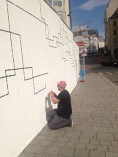 The artist Nick Prokesch alias nic. has studied video/video installation at the Academy of Fine Arts Vienna. With his tape graffiti Nick produces architecture in 2D perspective. Taped comics or abstract oeuvres are structuring walls, floors and stairs. Nick's work is taped with rubber tape instead of being sprayed or painted. #kufoklebt #art #vienna #graffiti #comic #kunstforum Sculpture Art, Sculptures, Linear Art, Tape Art, Video Installation, Vienna, 2d, Floors, Perspective