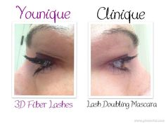 Younique 3D fiber lashes compared to Clinique Lash Doubling Mascarra.  $29 iwww.youniqueproducts.com/amyounique