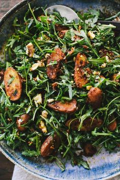 Romesco Potato Arugula Salad with Goat Cheese