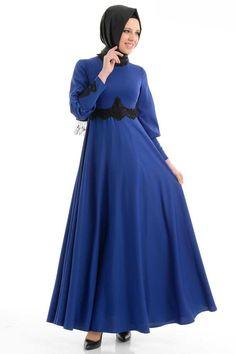 Tuay - Dantel Detaylı Sax Elbise