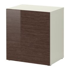BESTÅ Shelf unit with door - white bamboo pattern/high-gloss/brown  - IKEA