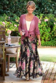 Emma Skirt - Rose Print Skirt, Vintage Chiffon Skirt, Elastic Waist Skirt | Soft Surroundings