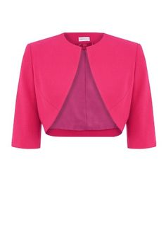 Raspberry Moss Crepe Bolero, matching effortless chic with expert petite tailoring.