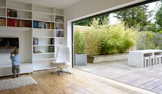 rear extension - love the full height wall unit Glass Extension, Rear Extension, Extension Ideas, Bungalows, Interior Exterior, Interior Design, House Extensions, Kitchen Extensions, Open Plan Kitchen