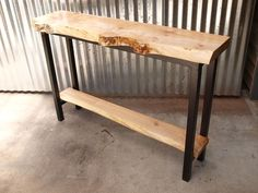 Live edge Maple console table, maple shelf and steel base. 48 x 13 x Nicely figured maple top with black patina steel base. Custom sizes available… Live Edge Console Table, Live Edge Table, Live Edge Furniture, Cool Furniture, Welded Furniture, Diy Entryway Table, Wood Slab Table, Portable Table, Into The Woods
