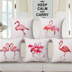 Pink Flamingo Series Printed Square Cotton Linen Cushion Cover Decorative Sofa Flamingo Cushion Pillowcase Throw Pillow Cover * Pub Date: Feb 10 2017 Flamingo Gifts, Flamingo Decor, Flamingo Rosa, Pink Flamingos, Throw Pillow Covers, Pillow Cases, Throw Pillows, Cushion Covers, Kitsch