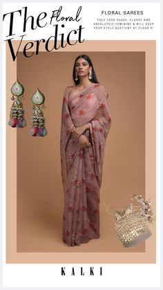 Mauve saree in organza with printed floral pattern all over. Enhanced with foil printed dots all over and cut dana trim on the border. Teamed with a matching unstitched blouse in silk. The length of the blouse is 0.93 meters. Saree Blouse Designs, Print And Cut, Stylish Dresses, Lehenga, Mauve, Choices, Festive, Your Style