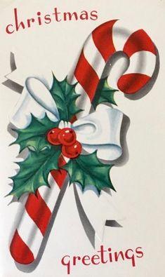 Vintage Candy Cane. Retro Christmas Card. Christmas Greetings.