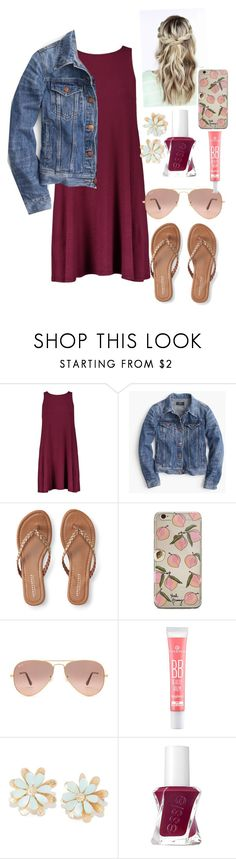 """""""Weekend Afternoon"""" by ebellows18 ❤ liked on Polyvore featuring J.Crew, Aéropostale, Ray-Ban and Essie"""