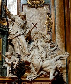 Ignatius Loyola, Church of the Gesù, Rome. Baroque Sculpture on the side of the Tomb representing Religion Overthrowing Heresy and Hatred, by Legros Religious Images, Religious Art, Luxor, Society Of Jesus, Art Sculpture, Baroque Sculpture, Bride Of Christ, Effigy, St Ignatius