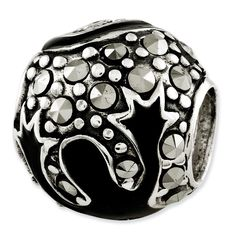 Sterling Silver Reflections Marcasite & Black Enameled Bead