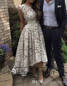 High Low Prom Dresses Front Short Back Long Lace Saudi Arabia formal Evening Dresses Party Gown