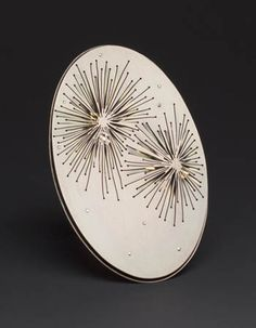 Heather Bayless  Dandelights Burst Brooch in anodized titanium, oxidized sterling silver and keum boo