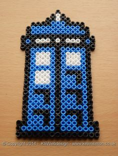 Dr who Tardis Hama bead Design see more of my bead designs at my site  http://www.kevinsimon.co.uk/?p=4658