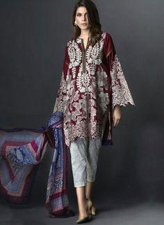 Maroon Off White Embroidery Work Print Georgette Designer Pakistani Suit  http://www.angelnx.com/Salwar-Kameez