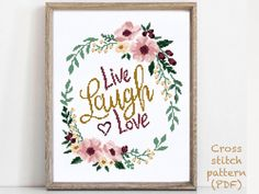 Quotes Modern cross stitch pattern. Easy counted cross stitch chart, xstitch, punto croce, embroidery, point de croix, Sticken im Kreuzstich. Original cross stitch pattern designs. Use coupon VLADA30 when you buy 3 or more patterns from my shop to get 30% off! This is INSTANT DOWNLOAD PDF. Cross stitch pattern will be available for instant download once payment is confirmed. Fabric: Aida 14 count Size: 119 x 146 Stitches Dimension (Aida 14): 8-1/2 inches (21.6cm) wide, 10-1/2 inches (26.5cm) hig Wedding Cross Stitch Patterns, Cross Patterns, Modern Cross Stitch Patterns, Cross Stitch Flowers, Cross Stitch Designs, Live Laugh Love Quotes, Simple Cross Stitch, Easy Cross, Cross Stitch Quotes