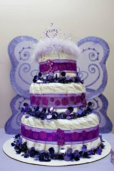 Custom diaper cake at a Purple baby shower #babyshower #purple #diapercake