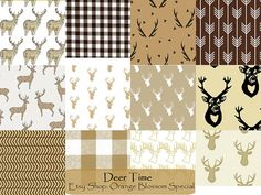 Deer Time Nursery Items. Love deer and woodland themes? Then these fabrics are perfect for you! Browns, gingham, and deer heads. perfect for boys or girls!