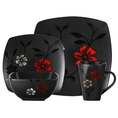 Evening Blossom dinnerware set features a black satin design with blossoms in pops of white & red color. This sixteen piece ceramic set by Gibson includes 4 dinner plates, 4 salad plates, 4 bowls & 4 mugs. Dinnerware set is dishwasher safe for easy care