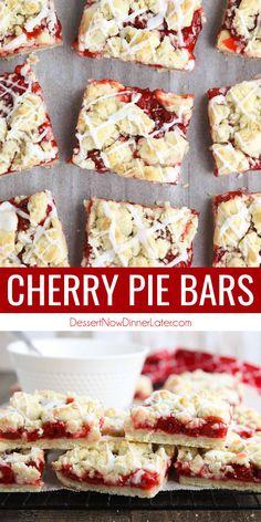 Cherry Desserts, Just Desserts, Delicious Desserts, Cherry Pie Filling Desserts, Yummy Snacks, Yummy Treats, Yummy Food, Cherry Pie Bars, Canning Cherry Pie Filling