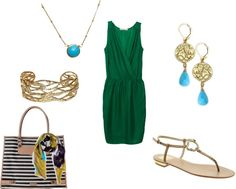 """""""Green, turquoise and gold"""" by nathaliersherman on Polyvore"""