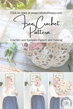 Make an adorable addition to your fall decor using this free crochet pattern. The small crochet lace pumpkin pattern can be found free by clicking the link. Crochet Pumpkin Pattern, Crochet Lace Edging, Crochet Borders, Crochet Squares, Filet Crochet, Crochet Fall Decor, Crochet Decoration, Holiday Crochet, Crochet Designs