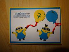 Stampin up Karte 7. Geburtstag Kindergeburtstag Geburtstagskarte Eulen Stanze Minions