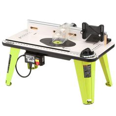 Router Table 32 in x 16 in Universal Power Tool in Green with 5 Throat Plates