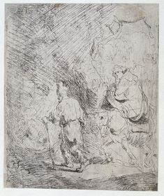 The Flight into Egypt, sketch - Rembrandt - 1627