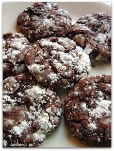 Chocolate Gooey Butter Cookies, made with cream cheese and a chocolate cake mix (made these by Paula Deen a few years ago. Really yum!)
