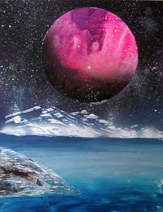 Spray Paint Art Space Landscape Misty Mountains with by EacArt