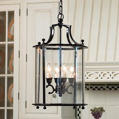 "Heritage Hanging Lantern $200 @Shades of Light.com, 4- 60Watt bulbs, 12""W x 24""H"