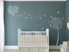 Wallpaper Accent Wall- Dandelion Wall Decal - Blowing Dandelion Wall Art - Nursery Wall Decal - Vinyl W. Nursery Wall Decals, Baby Nursery Decor, Nursery Room, Vinyl Wall Decals, Wall Murals, Dandelion Nursery, Dandelion Wall Decal, Accent Wall Bedroom, Heart Wall