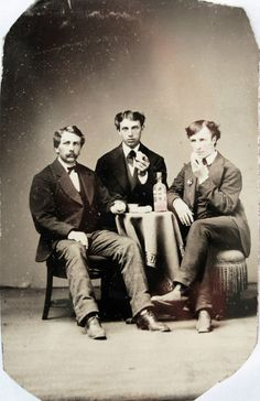 ca. 1870-1890's, [hand colored tintype portrait of three young men drinking a pink tinted liquid and eating what appear to be eggs]