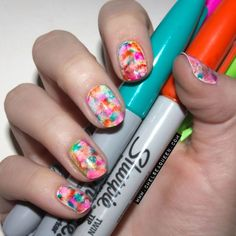 From website: Apply base coat and 2 top coats (white works best). Let dry completely! Use different color Sharpies to color in blocks of color.  Use any size brush and dip it in acetone. Too dry and it won't work, too wet and the acetone will flood the nails/cuticle area and take off polish. Dab it all over the nail and wipe off the brush and re-dip every couple of times. I probably dabbed the brush on the nail 5 times.Give it a couple minutes and then add your top coat!
