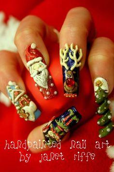3D nail art Christmas nails