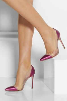 Zapatos de mujer - Womens Shoes - Gianvito Rossi Metallic Leather and PVC Pumps Cute Shoes, Me Too Shoes, Talons Sexy, Designer Wedding Shoes, Dream Shoes, Beautiful Shoes, Pumps Heels, Fashion Shoes, Shoe Boots