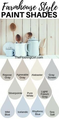 Farmhouse style paint shades from Sherwin Williams. These modern farmhouse style shades will transform y Farmhouse style paint shades from Sherwin Williams. These modern farmhouse style shades will transform you home into a cozy rustic look. Farmhouse Remodel, Farmhouse Homes, Rustic Farmhouse, Farmhouse Design, Farmhouse Flooring, Cottage Farmhouse, Farmhouse Ideas, Farmhouse Style Decorating, Farmhouse Paint Colors