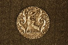 ESMERALDA and HER DANCING GOAT BUTTON. Large, finely detailed silvered brass, applied to a flat textured brass disc. 1 1/2. Excellent. $46.00.