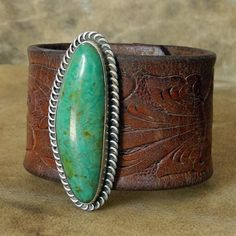 Leather Cuff Bracelet with Old Pawn Jewelry and Vintage Western Belt - Navajo Dead Pawn - Turquoise Cuff Bracelet - Roca Jewelry Designs