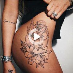 Beautiful Thigh Tattoos for Women Designs - Tattoos for Girls Hand Tattoos, Hip Thigh Tattoos, Flower Thigh Tattoos, Shoulder Tattoos For Women, Sleeve Tattoos For Women, Finger Tattoos, Tattoo Sleeves, Tattoo Women, Tattoo For Women On Thigh
