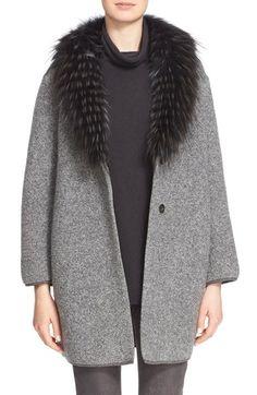 Fabiana Filippi Bouclé Cocoon Coat with Genuine Fox Fur Collar