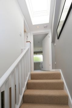 dormer loft conversion wandsworth: modern Corridor, hallway & stairs by nuspace; roof light over stairs Attic House, Attic Loft, Loft Room, Attic Rooms, Attic Spaces, Bedroom Loft, Attic Bathroom, Attic Library, Attic Playroom