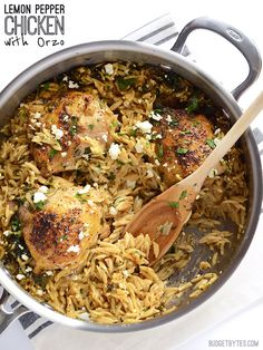 Everything cooks in one skillet for more flavor with less work! Lemon Pepper Chicken with Orzo - BudgetBytes.com