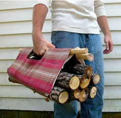 DIY Men Gift Ideas {Just for HIM}...Handmade firewood tote    Men love to BBQ. So let's give him firewood tote bag for easy picking. Great for camping too.