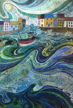 """""""Tossed About - Fishing Boat and Waves Embroidery - Textile Art"""" Art Prints by Rachel Wright Landscape Art Quilts, Quilt Modernen, Thread Painting, Textile Artists, Textile Fiber Art, Fiber Art Quilts, Quilting Designs, Oeuvre D'art, Land Scape"""