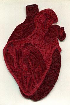 Human Heart, Quilled Anatomy by Sarah Yakawonis