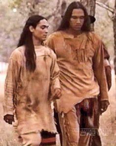 "Zahn McClarnon (left) and Michael Greyeyes (right), just hanging out... From the made for TV movie ""Crazy Horse."""